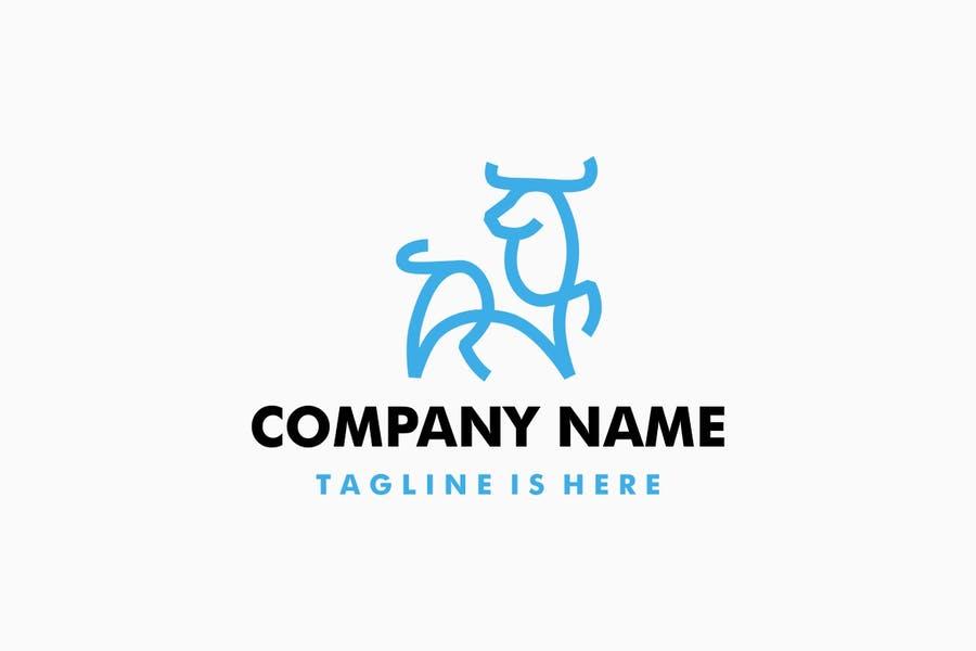 Lined Bull Logo Identity