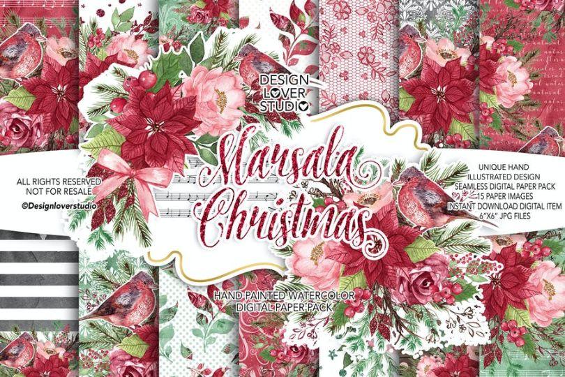 Marsala Christmas Texture