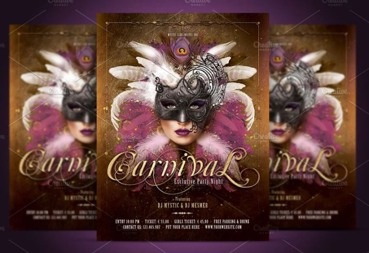 Mask Party Flyer Template