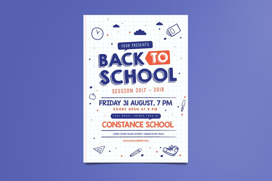 Minimal Back to School Flyer template