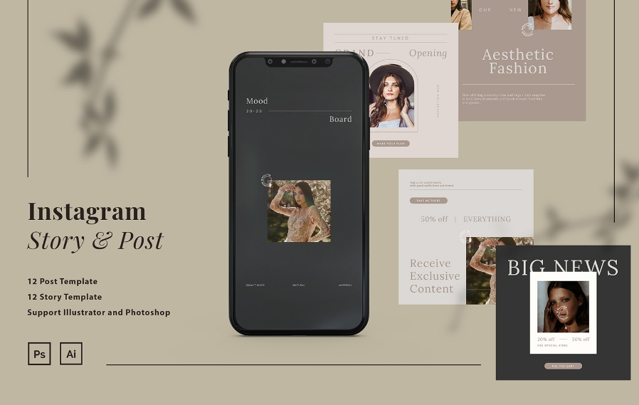 Minimal Instagram Post and Stories Template
