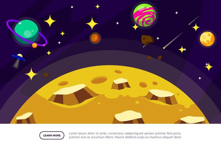 Moon Space Illustration Design