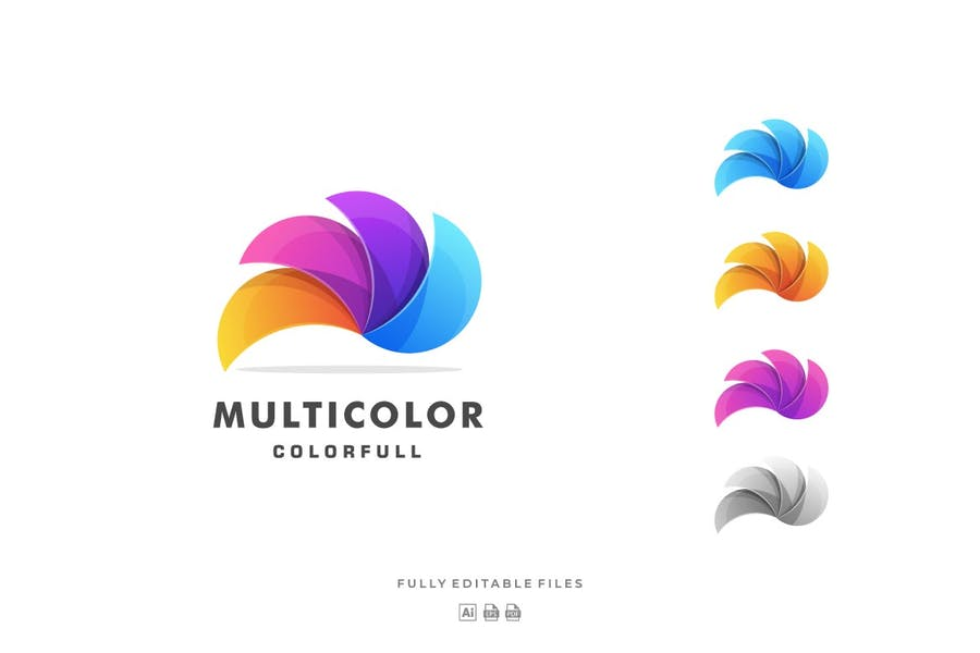 Multicolor Feather Style Logo