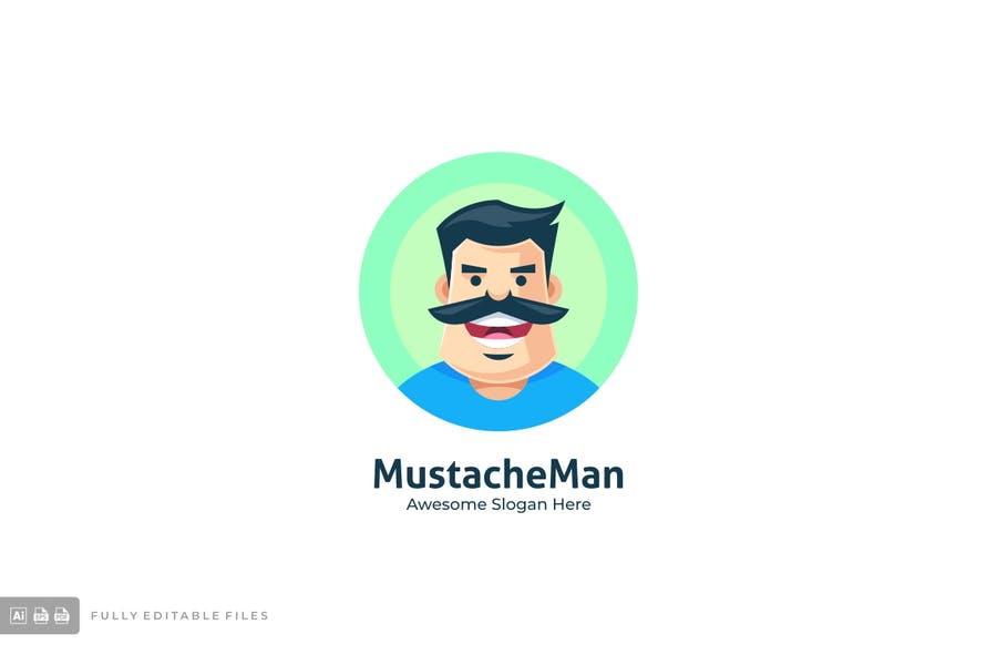 Mustache Man Logo Identity