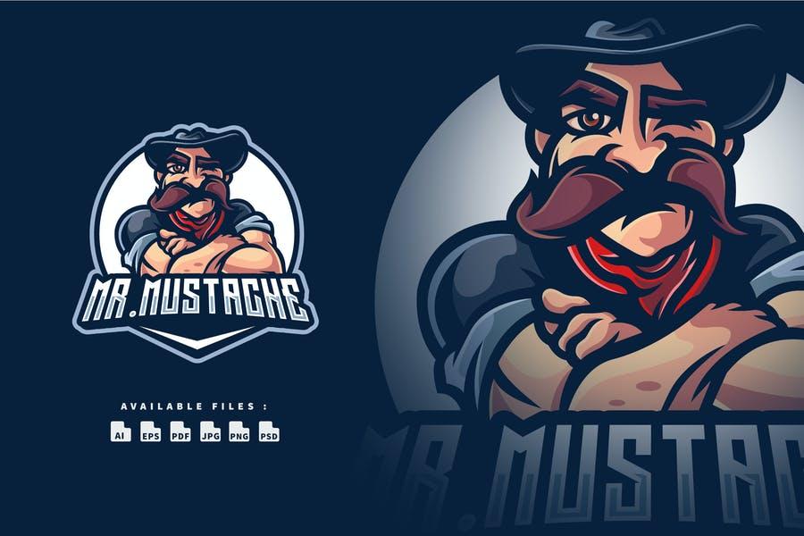 Mustache Man Mascot Logo Identity