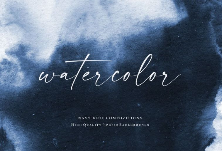 Navy Blue Watercolor Backgrounds