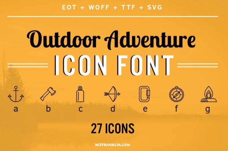 Outdoor Adventue Icons Typefcae