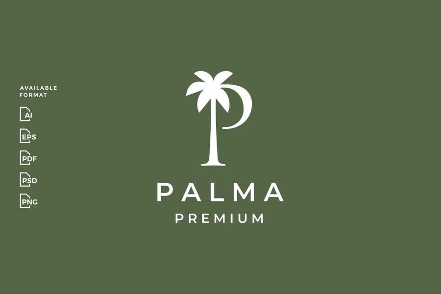 P Letter Palm Tree Logos