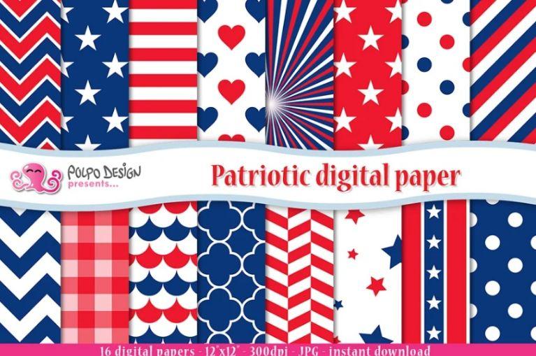 Patriotic Digital Paper Design