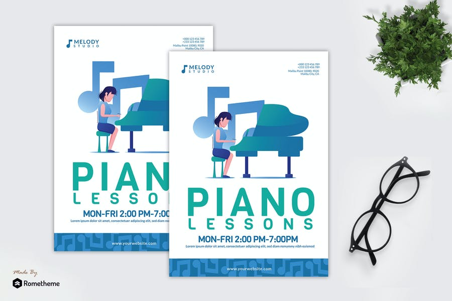 Piano Lessons Flyer Templates