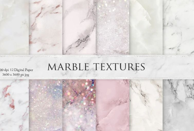 Pink and White Marble Glitter Background