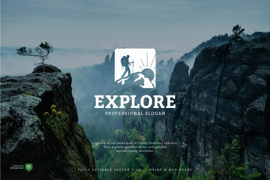 Professional Explorer Logo Identity