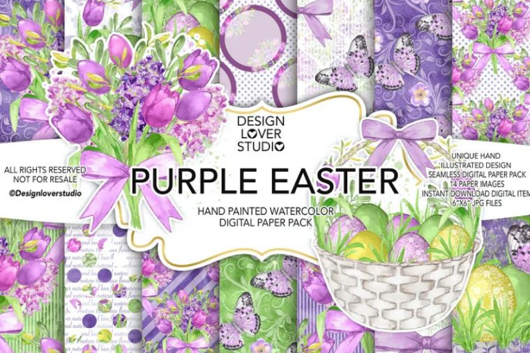 Purple Easter Background