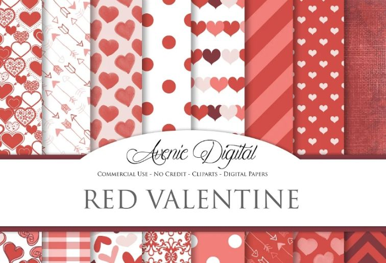 Red Valentine's Day Paper Backgrounds