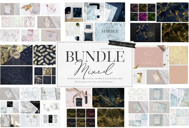 Rose Gold and Marble Texture Bundle