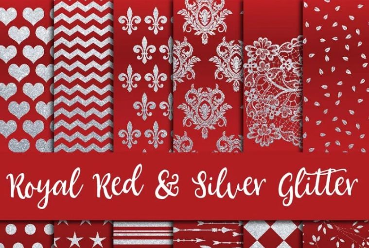 Royal Red Silver Background Design