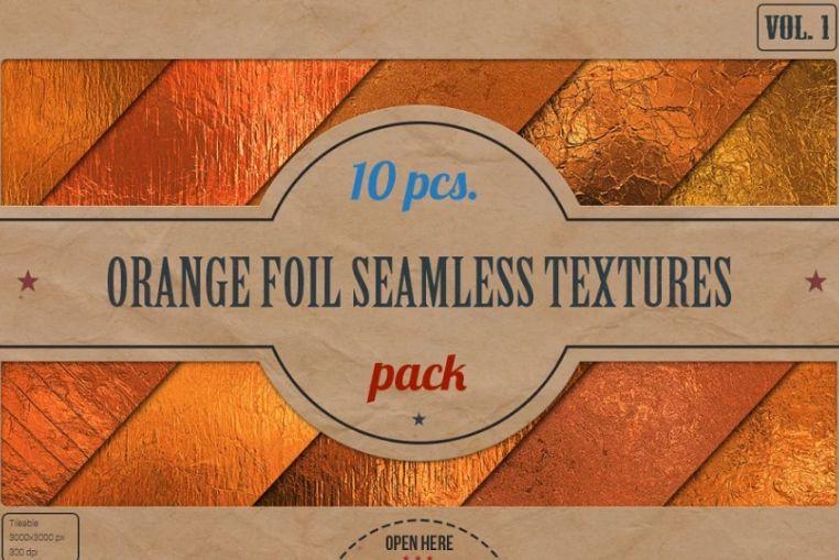 Seaamless Orange Foil Textures