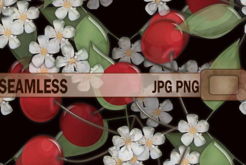 Seamlerss Cherry Flowers Texture