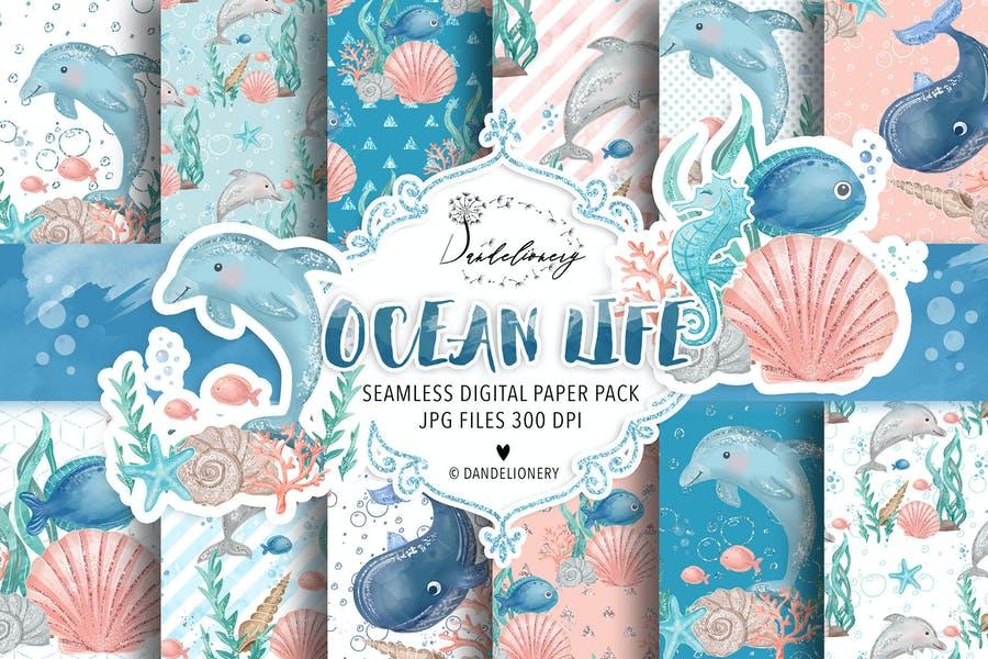 Seamless Ocean Life Pattern