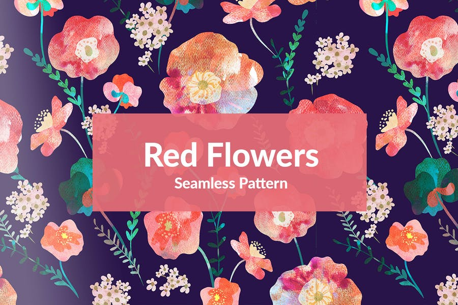 Seamless Red Flowers patterns