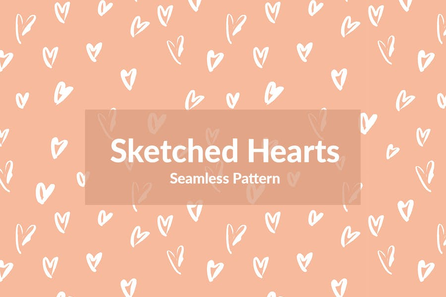 Seamless Sketched Hearts Pattern