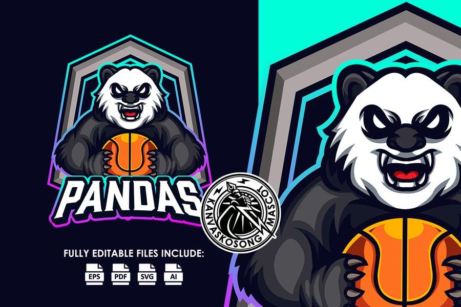 Shield Style Panda Logotype