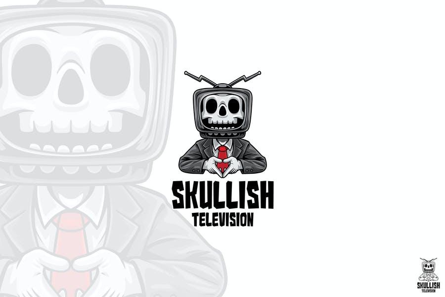 Skull TV Mascot Logo