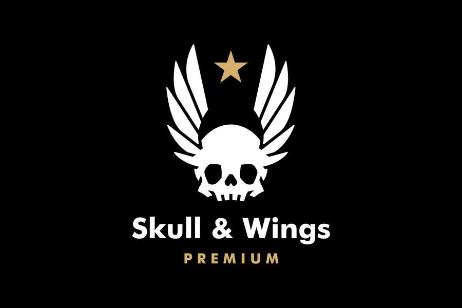 Skull and Wings Logo Design