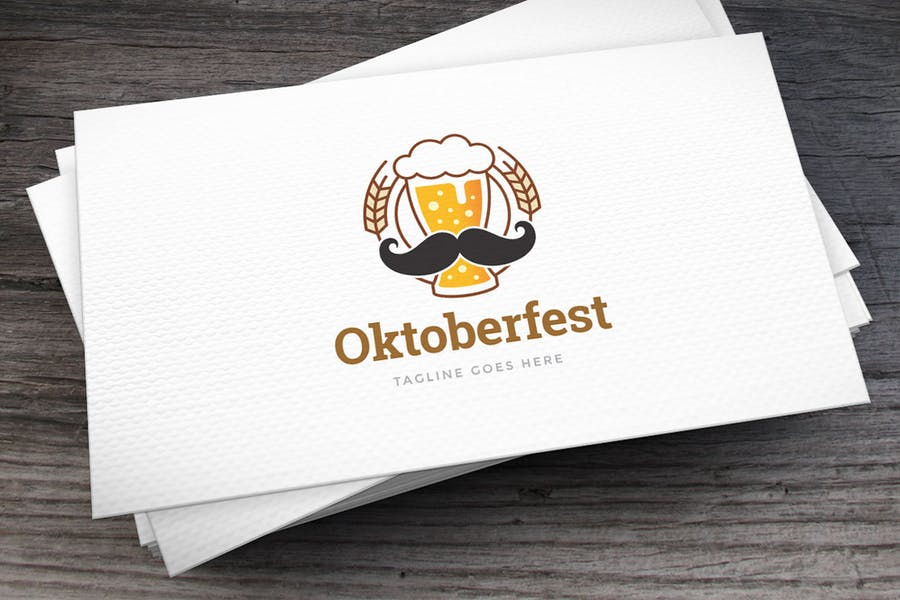 Stylish Beer Mustache Logo Design