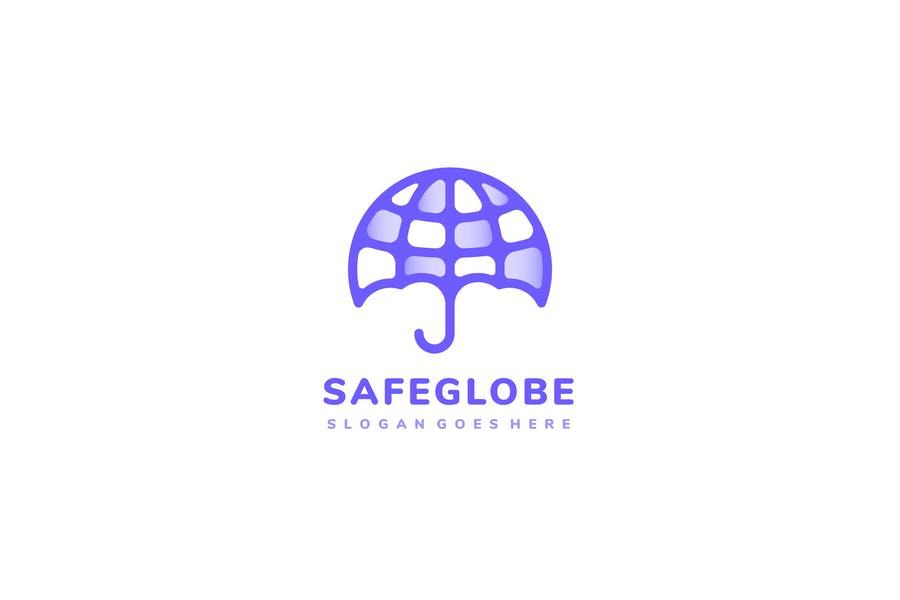 Umbrella Style Globe Logo Template