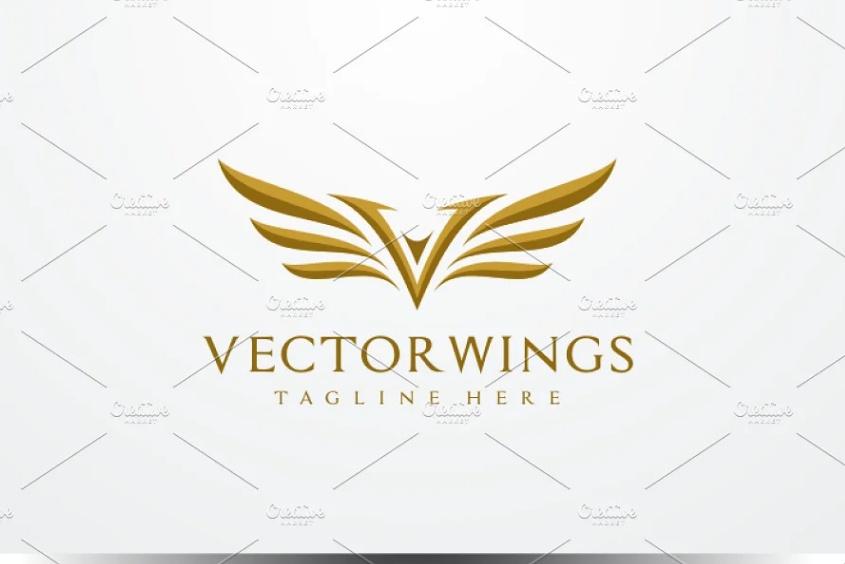 V Letter Wings Logo Design