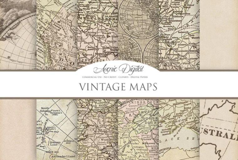 Vintage Digital Map Backgrounds