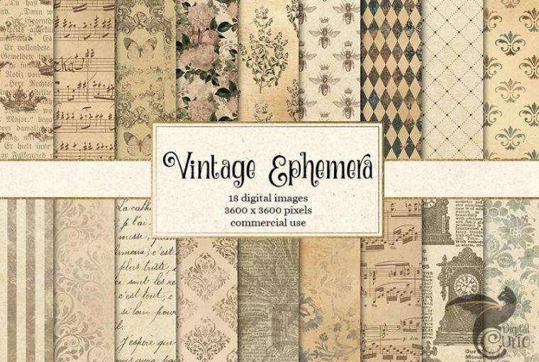 Vintage Ephemera Floral Backgrounds