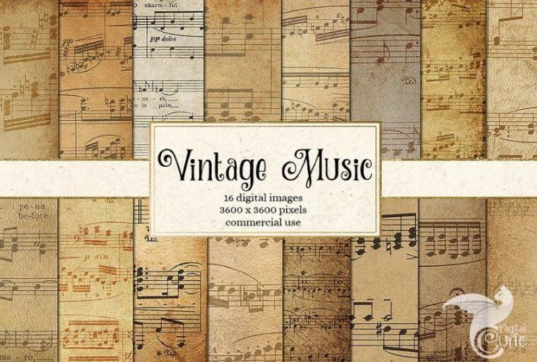 Vintage Music Digital Paper Sheets