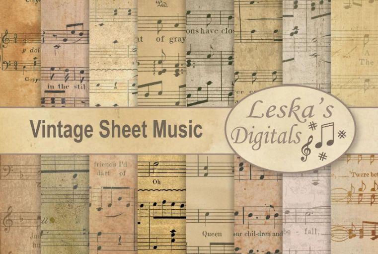 Vintage Music Notes Sheet Background
