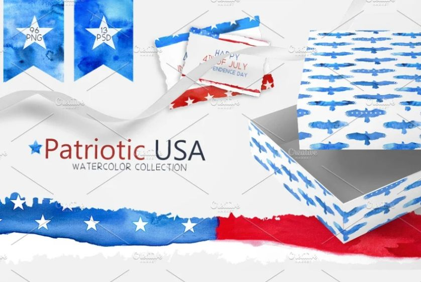 Watercolor American Flag Background