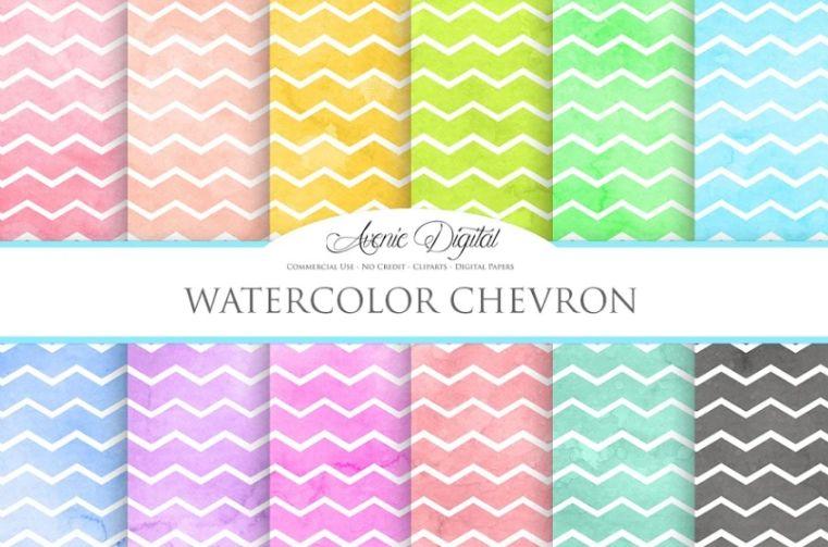 Watercolor Chevron Digital Paper Texture