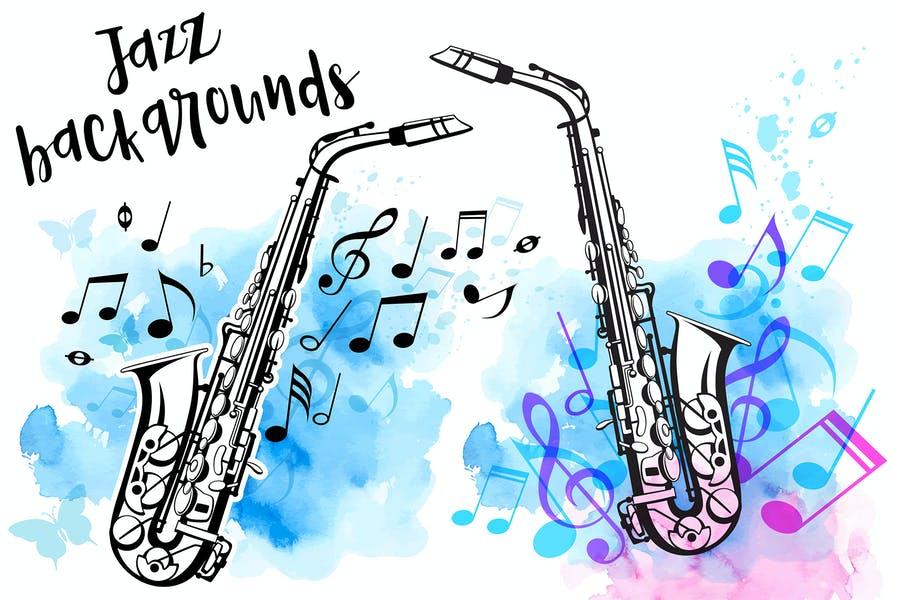 Watercolor Jazz Background
