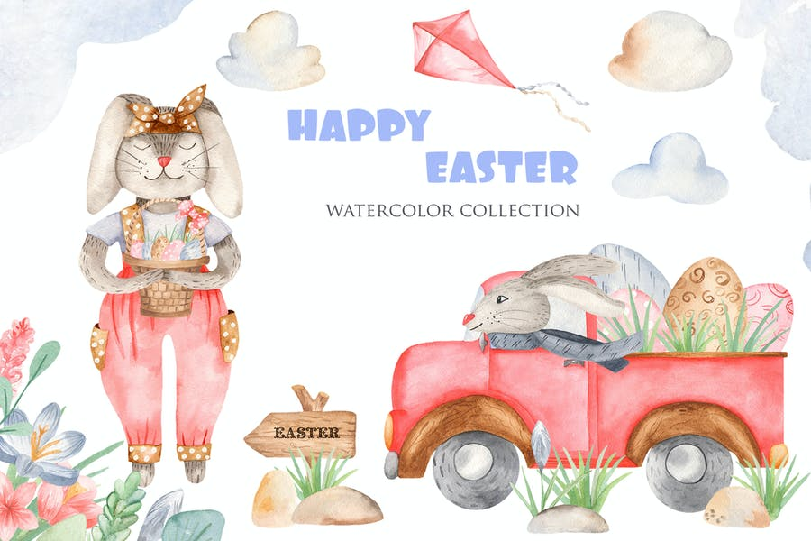 Watercolor Pastel Easter Background