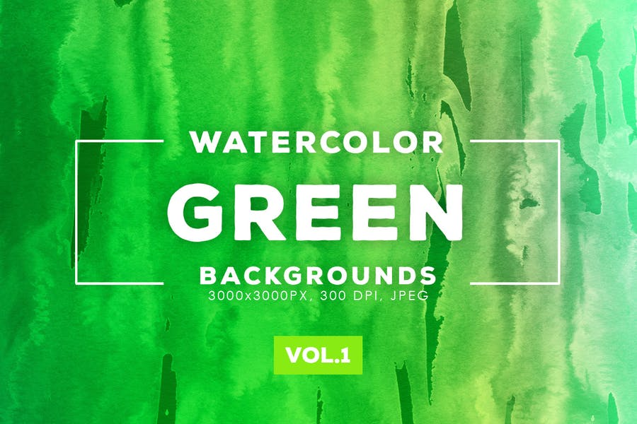 Watercolor Style Green Backgrounds
