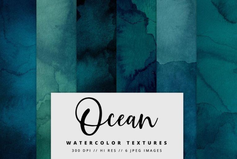 Watercolor Style Ocean Digital Paper