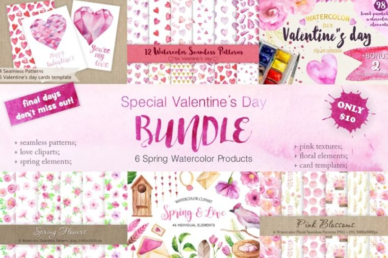 Watercolor Style Valentines Day Bundle