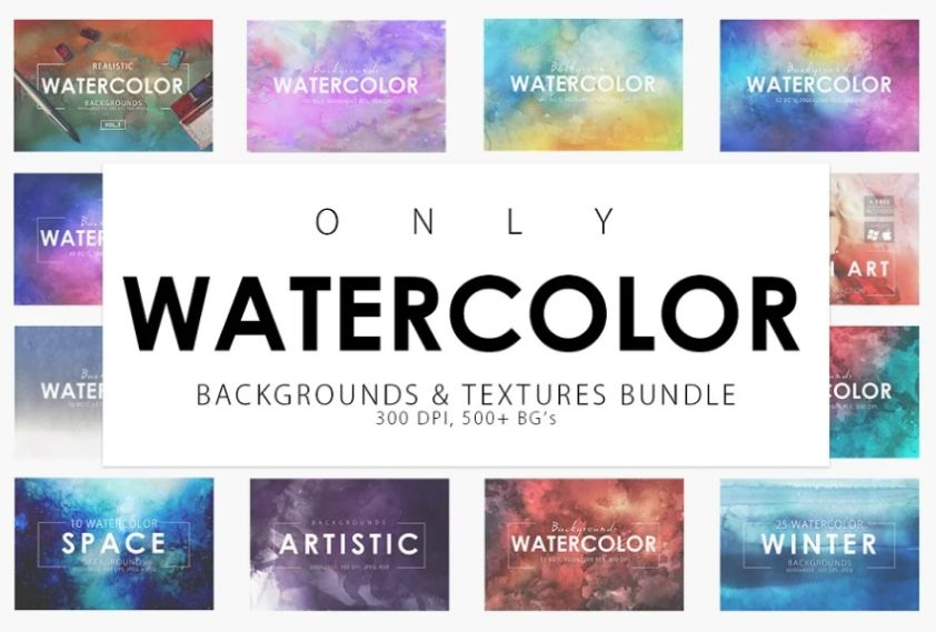 Watercolour Backgrounds and Textures Bundle