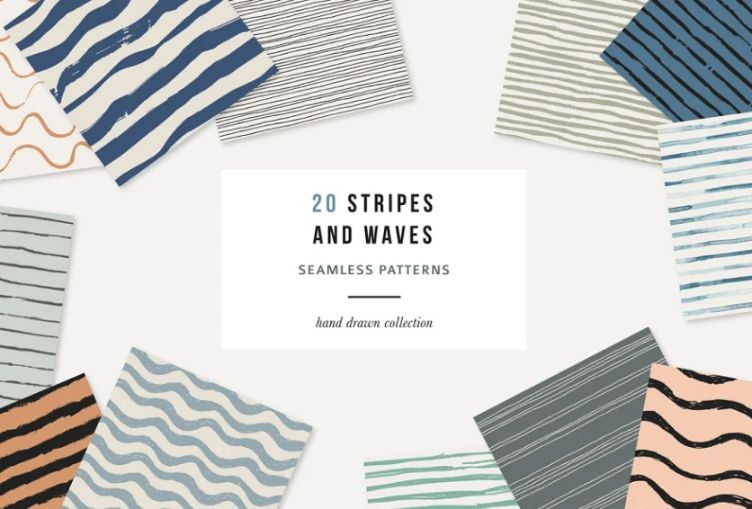 Waves and Stripes Seamless Backgrounds