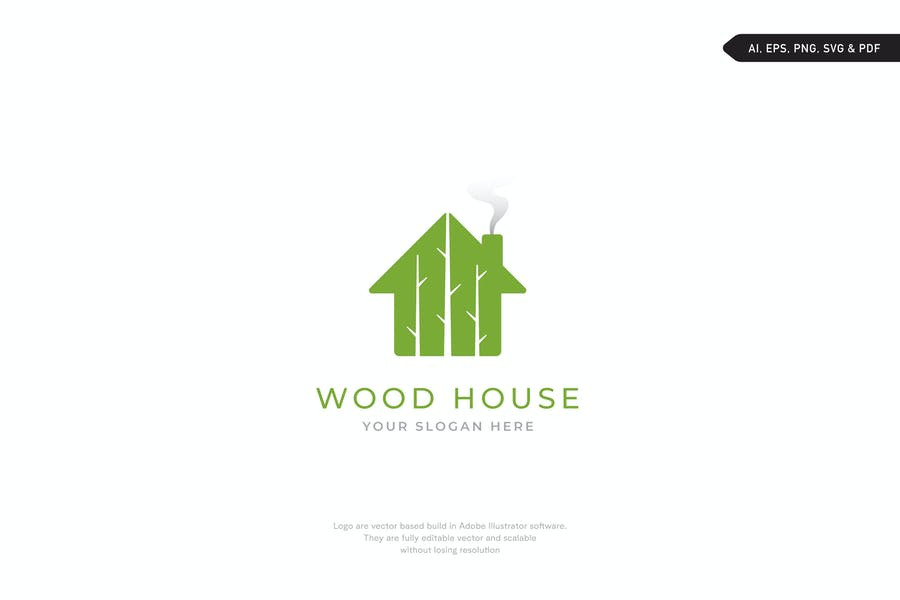 Wooden Style House Logotype