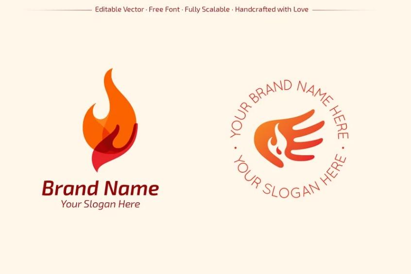 Hands on fire logo