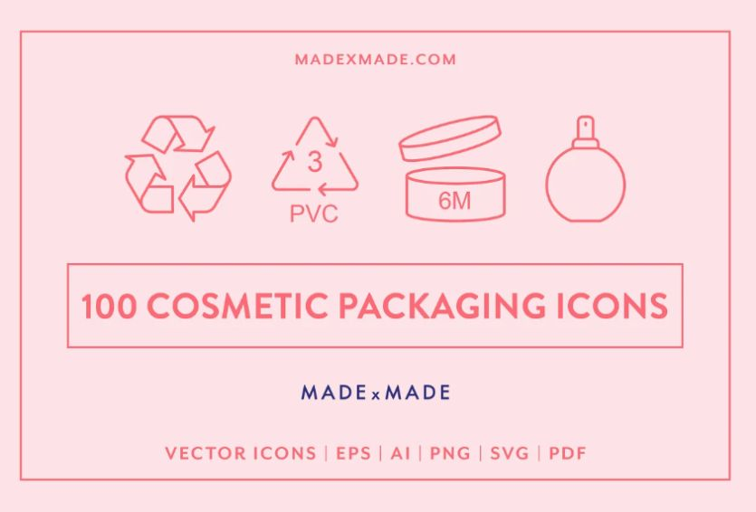 100 Cosmetics Packaging Icons Set