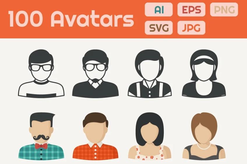 100 Unique Avatar Icons