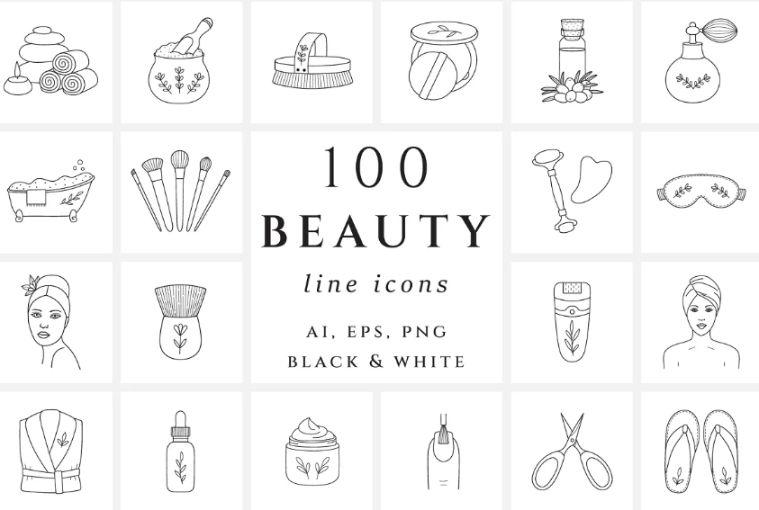 Beauty ahttps://creativemarket.com/HatchDesignWorkshop/2631808-Feminine-Beauty-Icons-Fashionnd Spa icon set