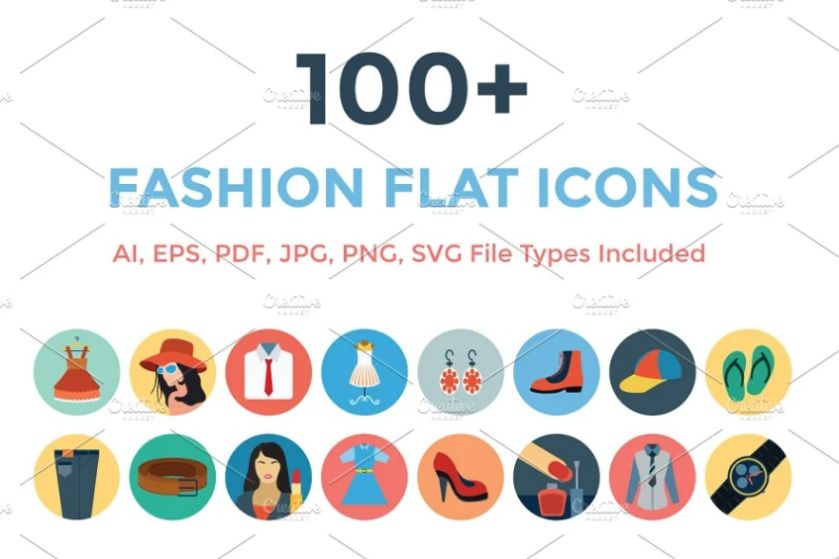 100 Unique Clothing Icons Set